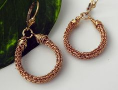 Gold Hoop Earrings, Viking Knit Hoop Earrings, Wire Crochet Earrings