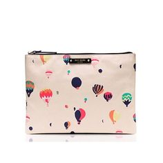 Kate Spade Get Carried Away Gia Kate Spade get carried away Gia. Smooth leather. Pouch with zip top closure. Cream balloon party pattern. kate spade Bags Clutches & Wristlets