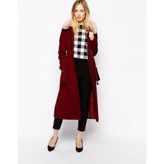ASOS Coat With Faux Fur Collar & Belt