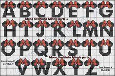 alfabeto da minnie em ponto cruz - Pesquisa Google