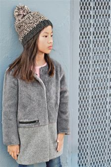 Grey Faux Fur Panel Coat (3-16yrs)