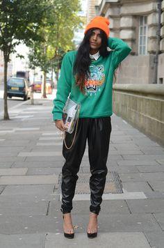 """Kenzo"" sweatshirt & bright beanie / faux leather jogger trousers."