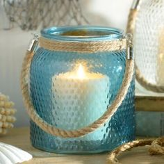 Blue Hobnail Glass Lantern