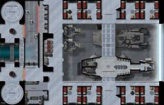 The Garrison Deck, part of the Battle Stations map series, shows the heart of a sci-fi military base, complete with firing range and armory.