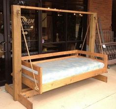 diy swing set plans for kids and baby Porch Swing Frame, Pallet Swing Beds, Diy Swing, Patio Swing, Porch Swings, Outdoor Bed Swings, Porch Swing With Stand, Patio Decks, Outdoor Camping