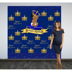 Crown Prince Party Photo Backdrop - Customize this backdrop for a Baby Shower or a First Birthday Celebration.