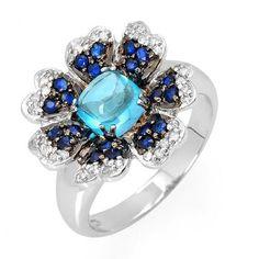 ... Favorite Ring Brought Back–14K Topaz, Sapphire & Diamond Flower Ring♥