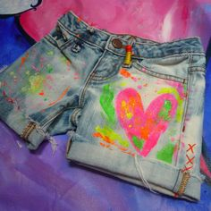 Neon painted denim cutoffs for little girlies