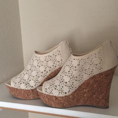 Kendall & Kylie madden girl shoes for sale Cream colored madden girl shoes for sale! NEVER worn! Size 10 Kendall & Kylie Shoes Wedges