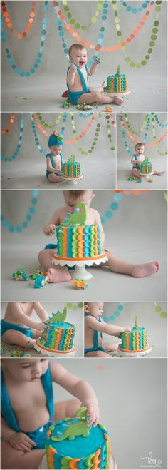 Dino Birthday Cake Smash Session - Ethan's first birthday - Dinosaur First Birthday, 1st Birthday Cake Smash, Baby First Birthday, Dinosaur Party, Dinosaur Cake, Simple 1st Birthday Party Boy, Colorful Birthday Cake, Dinosaur Train, Bolo Dino