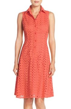 London Times Eyelet Fit & Flare Shirtdress available at #Nordstrom