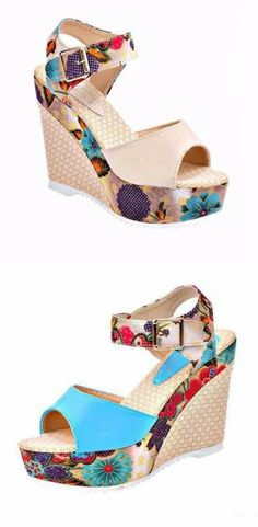 719e3955c22288 Floral Print Ankle Strap Women Summer Wedge Sandals