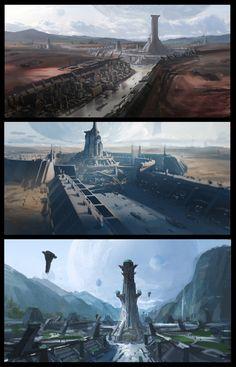 ArtStation - The Imperial City, Kevin Jick Star Wars Concept Art, Concept Art World, Fantasy Concept Art, Fantasy Artwork, Cyberpunk City, Futuristic City, Futuristic Architecture, Fantasy City, Fantasy World