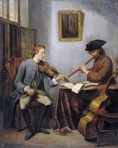 Julius Henry Quinkhard - A Violinist and a Flautist Making Music [1755]