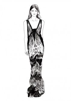 Fashion illustration of model in a printed Roberto Cavalli dress; black & white fashion drawing // Ignasi Monreal