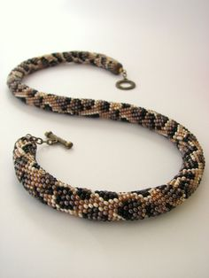 Rope necklace Leopard pattern Snake pattern Bead by ShiningLace