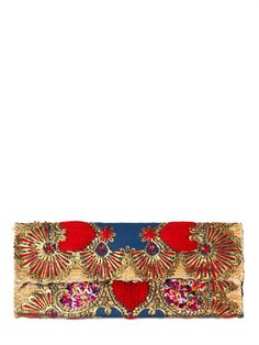 LAURENCE HELLER - EMBROIDERED SEQUINS COTTON STRAW CLUTCH SHOPPING WORLDWIDE SHIPPING - FLORENCE