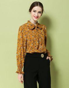 VIPme (VIPSHOP Global) - GUSTAVO ARANGO Yellow Spring/Fall Turtleneck Floral Sweet Strappy Shirts - AdoreWe.com