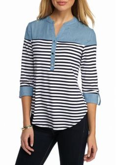 New Directions Navy White Striped Button Front Chambray Top