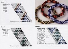 Crochet rope bracelets - a number of patterns.  (translate) #seed #bead #tutorial