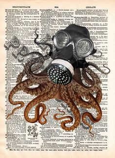 Octopod Gasmask, victorian steampunk lovecraft octopus, dictionary page art print