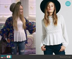 Maya's white lace top on Girl Meets World.  Outfit Details: http://wornontv.net/49926/ #GirlMeetsWorld