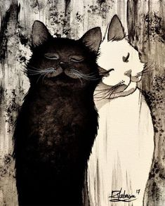 """""""TWO SOULS"""" Original painting by Raphaël Vavasseur Art Original painting: ift. Art Original, Original Paintings, Gatos Cats, White Cats, Black Cats, Cat Drawing, Crazy Cats, Cool Cats, Cat Art"""