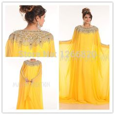 Find More Evening Dresses Information about 2014 New Arrival Dubai Kaftan Abaya Yellow Chiffon Beaded Long Musilim Dresses Evening Gown Vestidos De Fiesta,High Quality Evening Dresses from Sao Tome Garments Co., Ltd. on Aliexpress.com