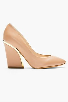 24 Pairs Of Pointed Shoes To Look Sharp #refinery29. Chloe Nude Leather Gold-Trimmed Heels, $795