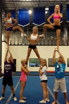 Hi guys! So I& done cheer for 4 years and I just wanted to say that if you need any advice or help with jumps, stunts, stretches, or anything else, I am always here and I& glad to help you. Just comment below questions! Cheer Pyramids, Cheerleading Pyramids, School Cheerleading, Competitive Cheerleading, Football Cheerleading, Cheerleading Videos, Cheerleading Jumps, Easy Cheer Stunts, Cheer Workouts