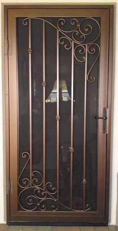 20 Iron Security Door Ideas With Beautiful Design You Can Use For Your Home Wrought Iron Security Doors, Steel Security Doors, Security Gates, Wrought Iron Doors, Door Gate Design, Main Door Design, Iron Front Door, Window Grill Design, Iron Windows