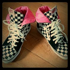 VANS Checker High Top Gently preloved condition.  Very clean.  Only imperfection is small fading to toe of shoes, shown in 2nd pic. Size US 5 men,  US 6.5 women. Pink interior. Vans Shoes Sneakers