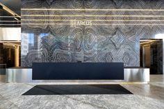 БЦ Arcus III, лобби - OfficeNext Showroom Interior Design, Lobby Interior, Lobby Reception, Reception Design, Corporate Interiors, Office Interiors, Accor Hotel, Lobby Design, Foyer Design