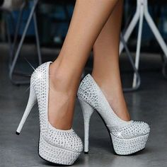 Shop Pretty Shining Closed Toe Stiletto Heels Prom/Evening Shoes on sale at Tidestore with trendy design and good price. Come and find more fashion Prom Shoes here. Wedding Shoes Heels, Prom Heels, Bridal Shoes, Silver High Heels, White Heels, Silver Shoes, Black Silver, Purple Shoes, Black Shoes
