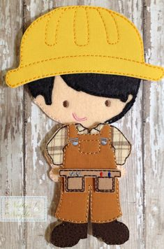 Items similar to A Working Man: Felt Doll Construction Outfit on Etsy Diy Quiet Books, Felt Quiet Books, Felt Diy, Felt Crafts, Felt Decorations, Doll Quilt, Felt Animals, Paper Dolls, Machine Embroidery