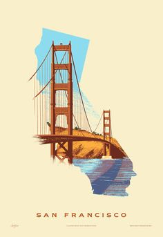 San Francisco Print - Golden Gate Bridge - Vintage inspired US Prints San Francisco Tattoo, San Francisco Art, Puente Golden Gate, Bridge Drawing, Poster Retro, San Francisco California, California Art, Southern California, Travel Illustration