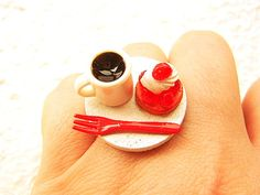Miniature Food Ring Coffee And Strawberry Tart by SouZouCreations, $12.50