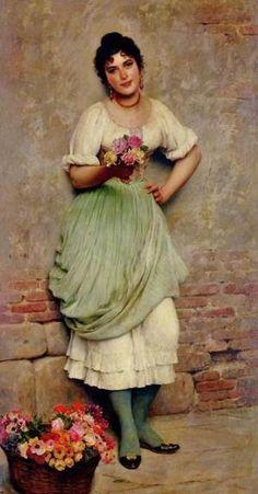 The Flower Seller 1895. By Eugene de Blaas. (Austrian Academic painter, 1843-1931).