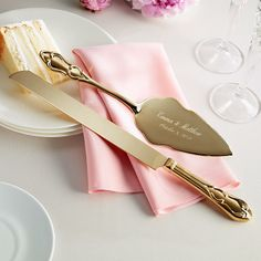 gold plated wedding cake knife and server