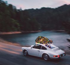 Huckberry's Porsche 912 with Christmas Tree on top