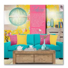 """""""Blue, Yellow & Pink"""" by leanne-mcclean ❤ liked on Polyvore featuring PiP Studio, Joybird, Missoni Home, Howard Elliott and Currey & Company"""