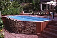 Popular Above Ground Pool Deck Ideas. This is just for you who has a Above Ground Pool in the house. Having a Above Ground Pool in a house is a great idea. Tag: a budget small yards Above Ground Pool Landscaping, Small Backyard Pools, Backyard Pool Landscaping, Small Pools, Outdoor Pool, Landscaping Ideas, Pool Fence, Sloping Backyard, Outdoor Patios