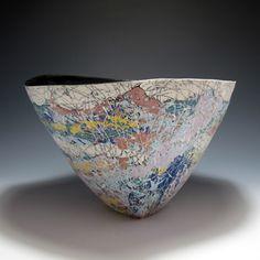 2012 Saenger Porcelain  peter@saengerporcelain.com  Three-sided Bowl(hand-built porcelain, white and colored porcelain, black glazed interior)