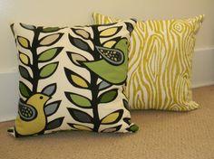 Handmade Green Bird & Wood Grain Pillow Cover by PopOfColorPillows, $24.00