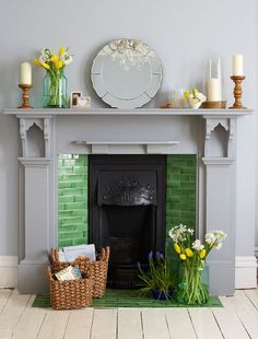 Great Images victorian Fireplace Hearth Suggestions Rustic materials, such as rattan and timber, create visual and physical contrast and look fantastic Candles In Fireplace, Paint Fireplace, Bedroom Fireplace, Fireplace Surrounds, Fireplace Design, Tiled Fireplace, Fireplace Ideas, White Fireplace, Painted Fireplace Mantels