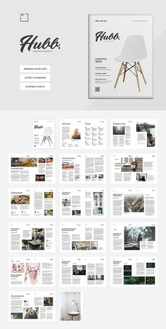 Hubb Magazine Template - Premium magazine template for Adobe InDesign with clean & neat layout. Magazine Page Layouts, Magazine Format, Magazine Layout Design, Book Design Layout, Magazine Template, Design Design, Brochure Template, Indesign Templates, Adobe Indesign
