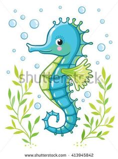 Cute cartoon Sea horse isolated. Seahorse and algae on a white background, vector illustration.