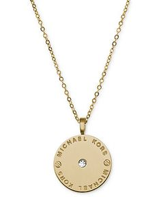 Michael Kors Necklace, Gold-Tone Logo Plate Disc Pendant - Fashion Jewelry - Jewelry & Watches - Macy's