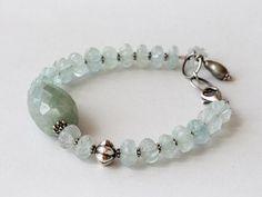 Green, Blue, Aquamarine Beaded Bracelet, Gemstone, Pearl, Sterling Silver
