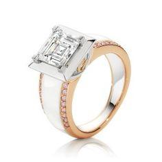 A stunning carre cut Diamond Ring featuring Pink Diamonds set in White Gold & Rose Gold Emerald Cut Diamonds, Pink Diamonds, Diamond Cuts, Jewelry Rings, Jewelery, Fine Jewelry, Beautiful Diamond Rings, Dress Rings, Ring Earrings